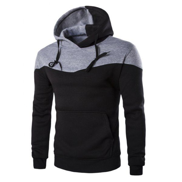 Fashion Mens Sweatshirts Colorblock Long-Sleeve Pocket with Zipper Casual Pullover Hoodies