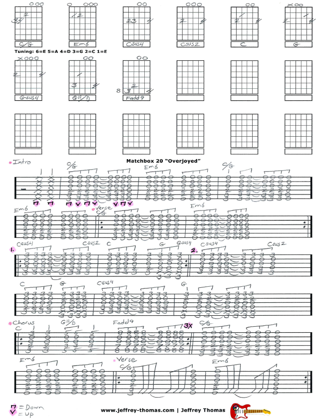 Free Guitar Tab For Overjoyed By Matchbox 20 The Proper Tuning Is