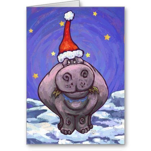 Hippopotamus Christmas Card Hippopotamus