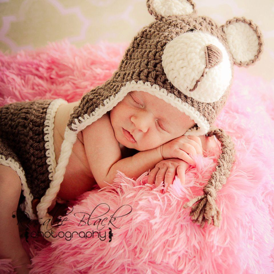 Brown/Cream or Pink Baby Hat and Diaper Cover Teddy Bear Crochet Set ...