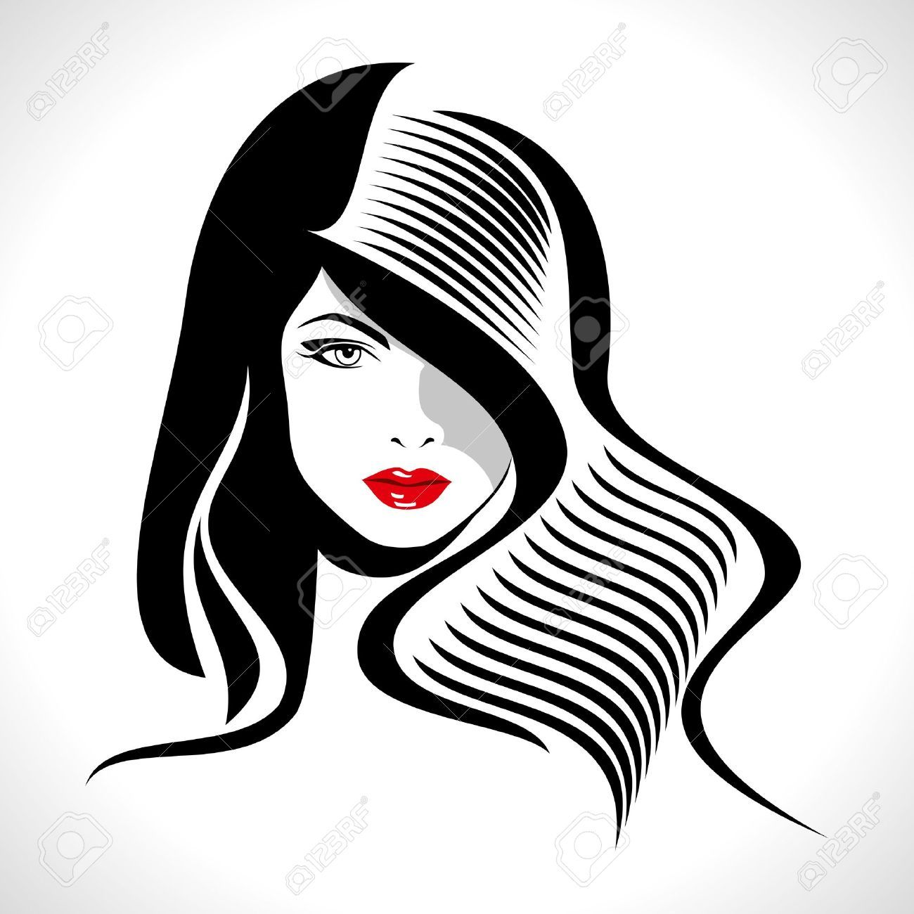 18173293 Beautiful Woman Silhouette Stock Vector Hair