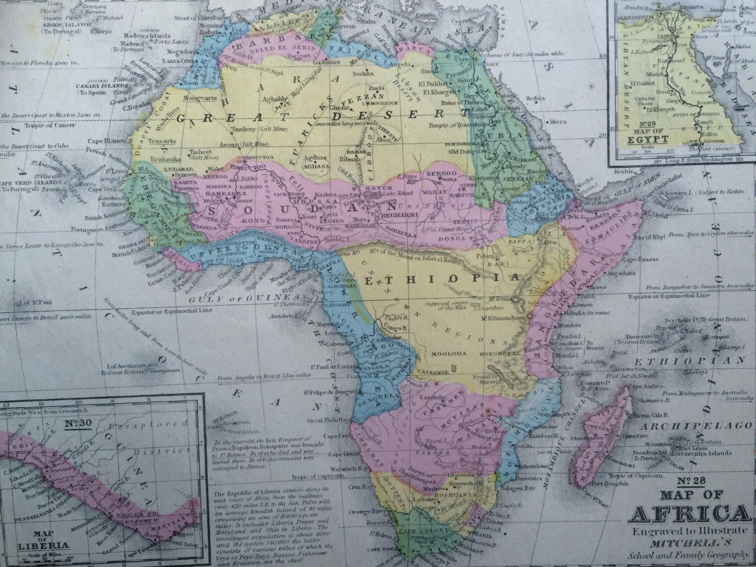 AFRICA Original Antique Hand Coloured Map With Inset Maps Of - Map of egypt and uk