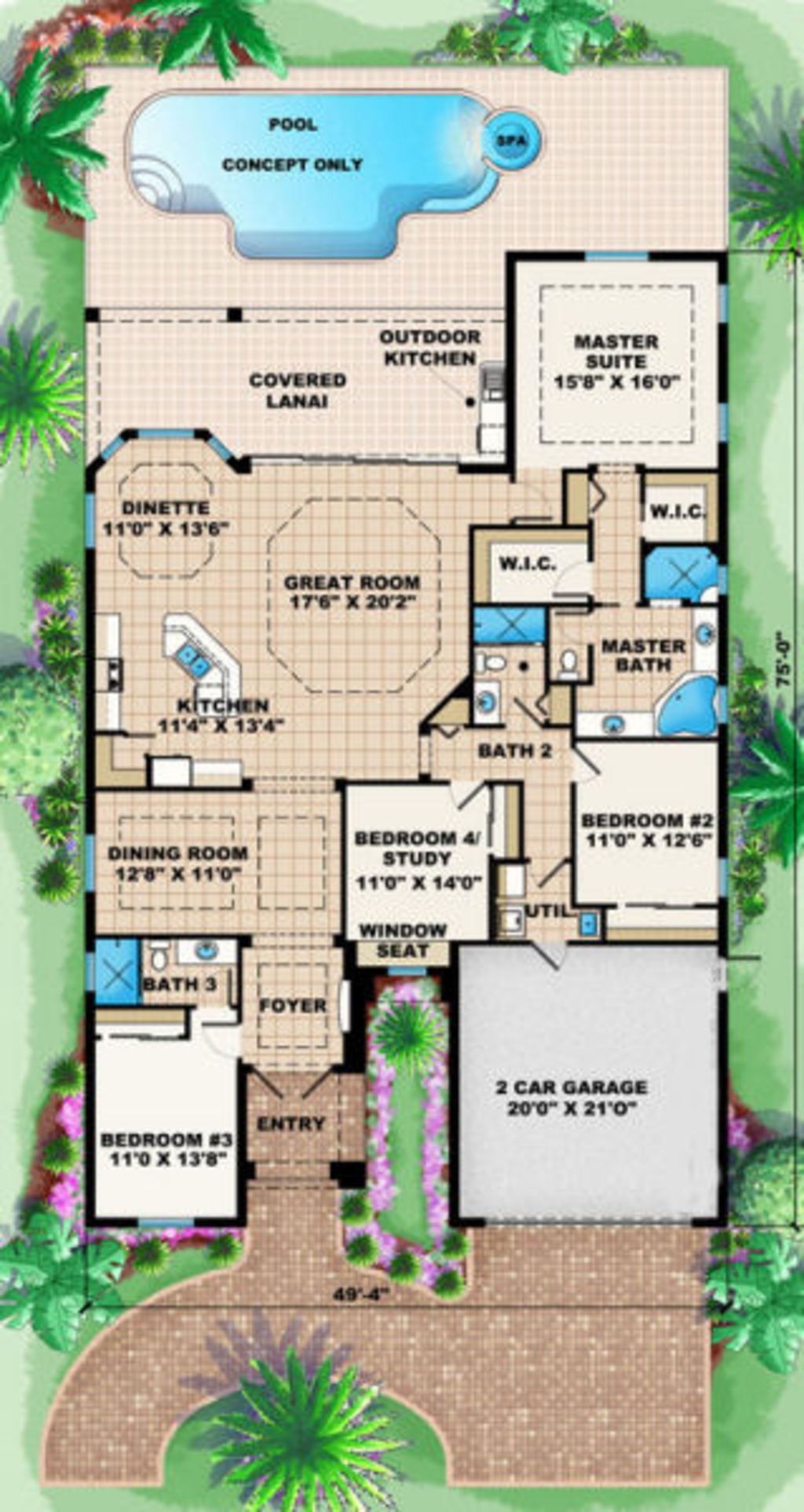 Mediterranean Style House Plan - 4 Beds 3.00 Baths 2514 Sq/Ft Plan ...