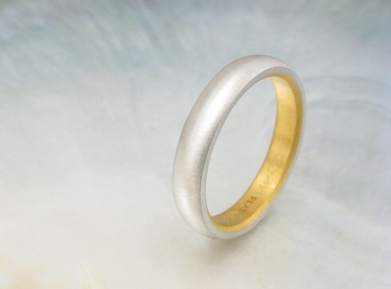 platinum and 24k gold wedding band for men or by RavensRefuge