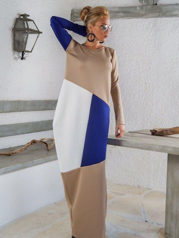 Scuba Neoprene Colorblock Maxi Dress Kaftan   Beige Blue White Kaftan   Plus  Size Dress   Oversize Loose Dress    35140 A very elegant....and  sophisticated ... 00885d881f