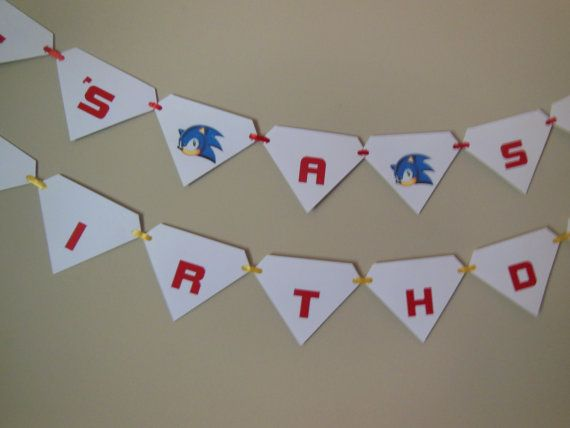 Sonic the hedgehog birthday banner gaming by ReginesPartyBoutique