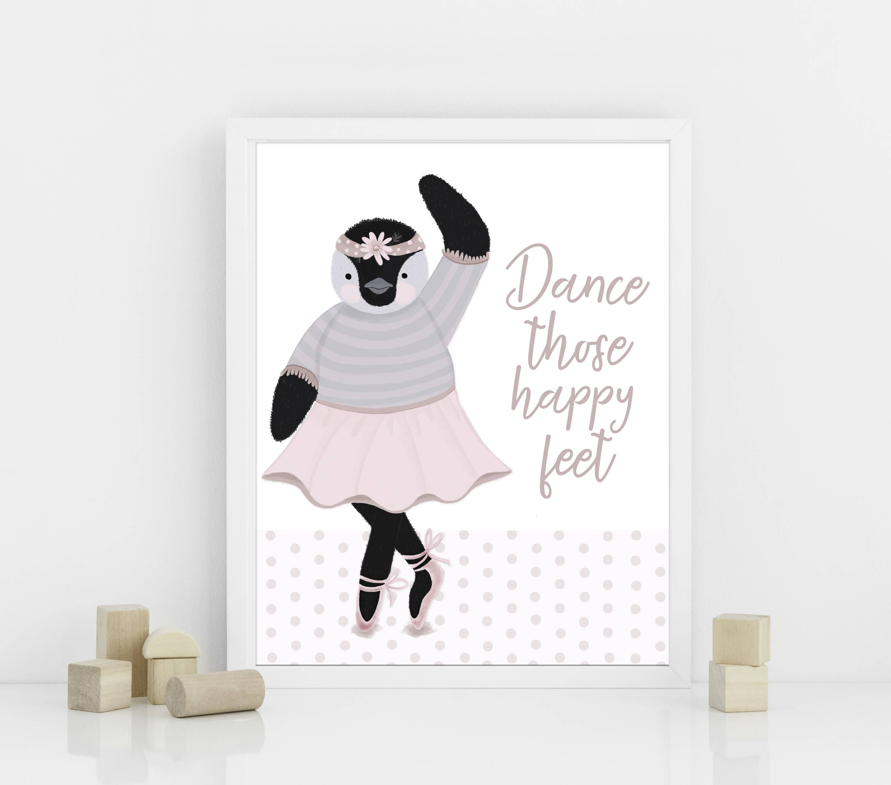Dance wall art ballet wall art girls room wall art penguin wall