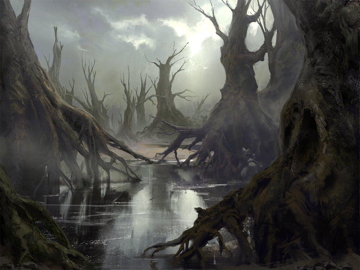 Swamp, Mathias Zamęcki on ArtStation at  https://www.artstation.com/artwork/kNZ2x   Fantasy art landscapes, Fantasy  landscape, Fantasy forest