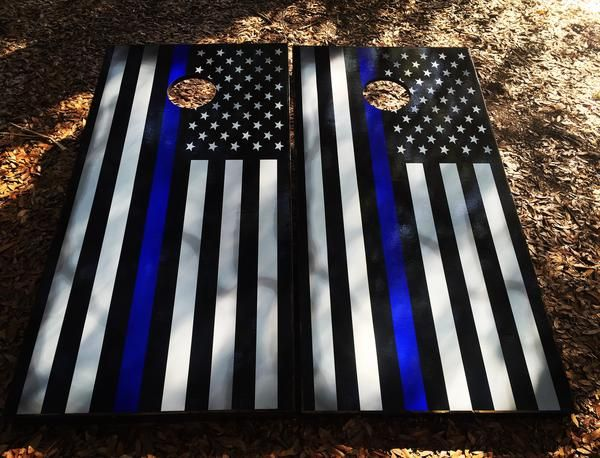 Photo of Blue Line American Flag Cornhole Set With Bean Bags