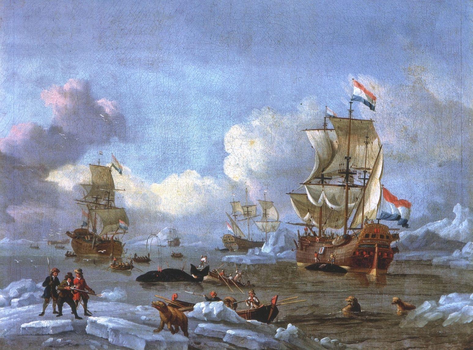 Abraham Storck Whaling in the Arctic Ocean