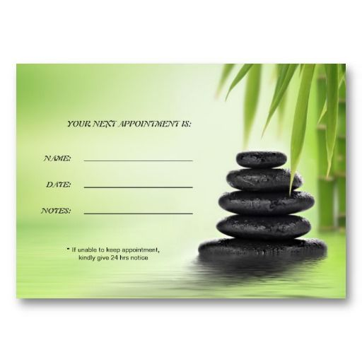 Zen Spa Massage Business Appointment Card Appointments, Card - sample appointment card template