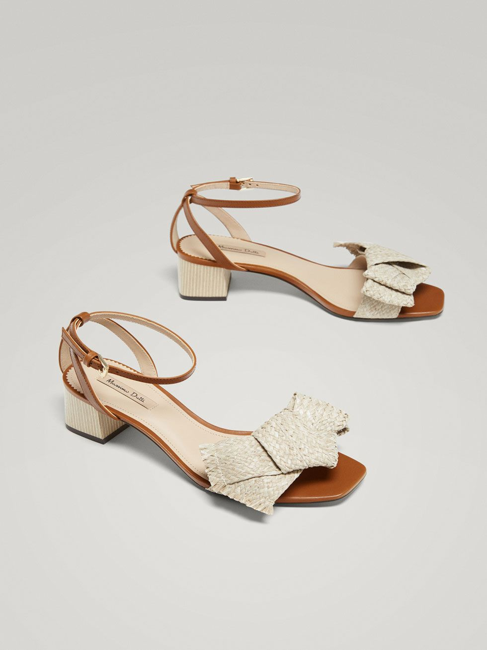 5b88224fe38 LEATHER SANDALS WITH RAFFIA BOW - Women - Massimo Dutti