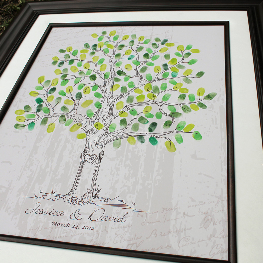 Thumbprint guestbook alternative guest book poster wedding tree ...
