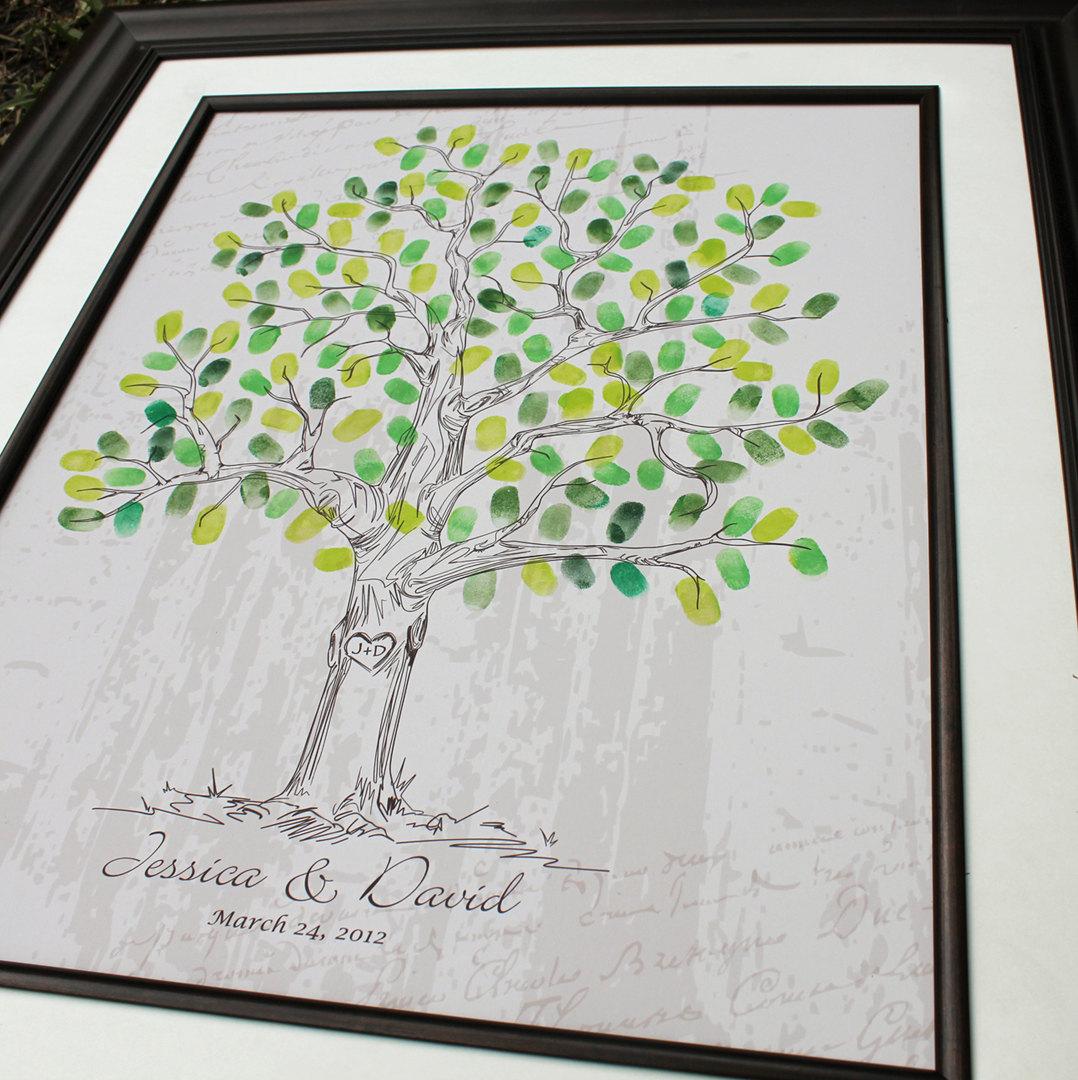 Personalized Wedding Keepsake Gift Hand Drawn Guest Book Fingerprint Tree Alternative