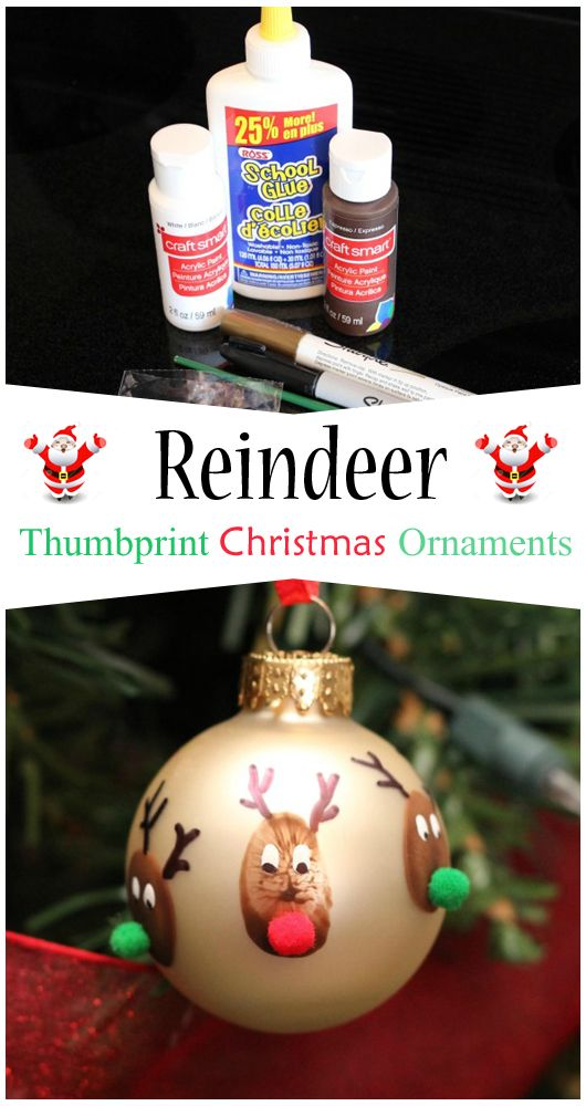 Reindeer Thumbprint Christmas Ornaments #ChristmasDecoration #ChristmasCraft