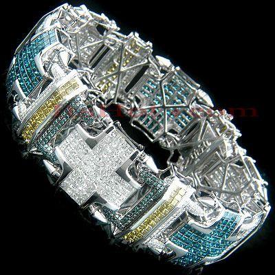 High-End 14k Gold Men's Diamond Bracelet with Blue White ...