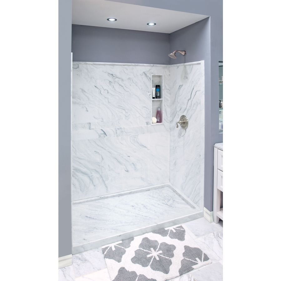 Style Selections White Carrara Solid Surface Wall And Floor 4 Piece Alcove Shower Kit Common 32 In X 60 Actual 75 At Lowes