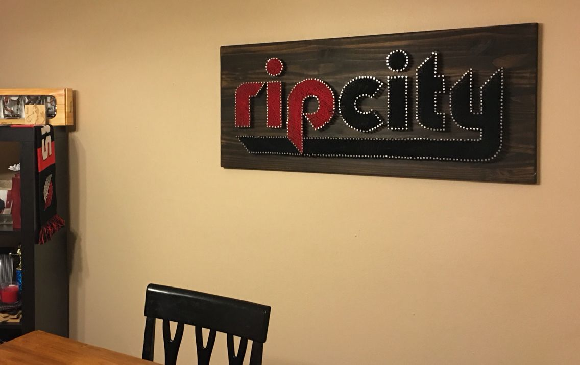 String art Rip City Trail Blazers logo. Wood stained. By Chris ...