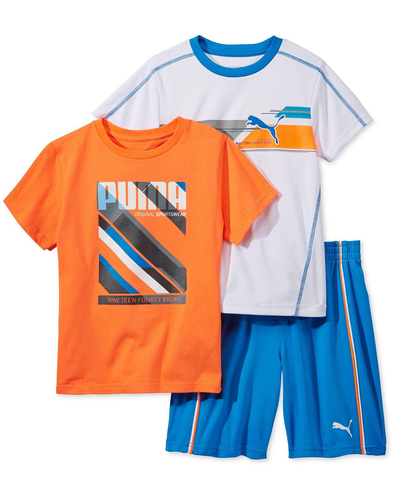 Puma Little Boys 3 Pc T Shirt Ringer T Shirt & Shorts Set Kids