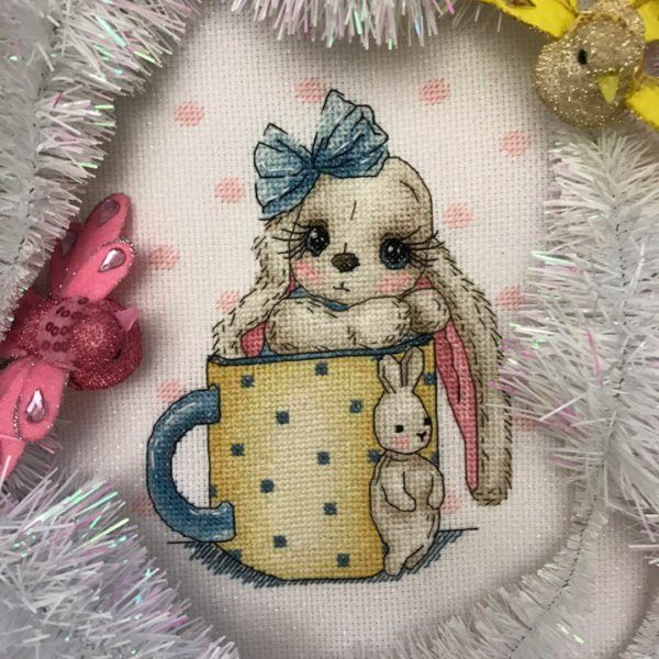 "Finished work by pattern ""Bunny in a cup"" #sa_stitch #sa_pattern #pattern #crossstitch #bunny"