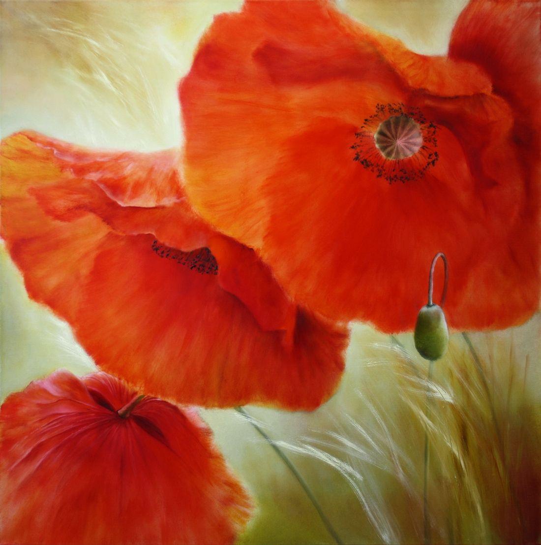 Grosse Abstrakte Malerei Original Ol Leinwand Kunst Mohnblumen Wand Kunst Acrylic Painting Flowers Poppy Painting Flower Painting