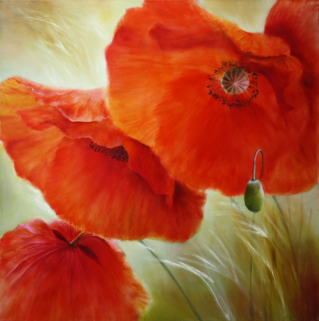 Ol Auf Leinwand 100 X 100 Cm Www Annette Schmucker De Art Arte Artist Contemporaryart Canvas Artgallery Orig Wie Man Blumen Malt Mohnblumen Kunst Mohn