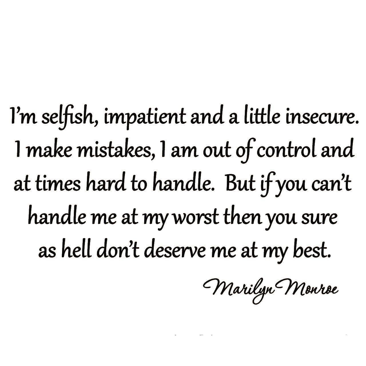 VWAQ Marilyn Monroe I'm Selfish Wall Decal Decor Art Wall Decals Marilyn Monroe Lettering Quote Home Sticker VWAQ-13800-D