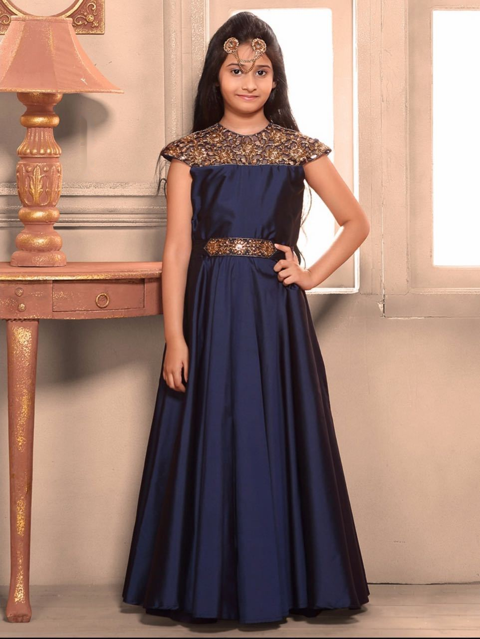 Blue color sequence work long gown dress in attire