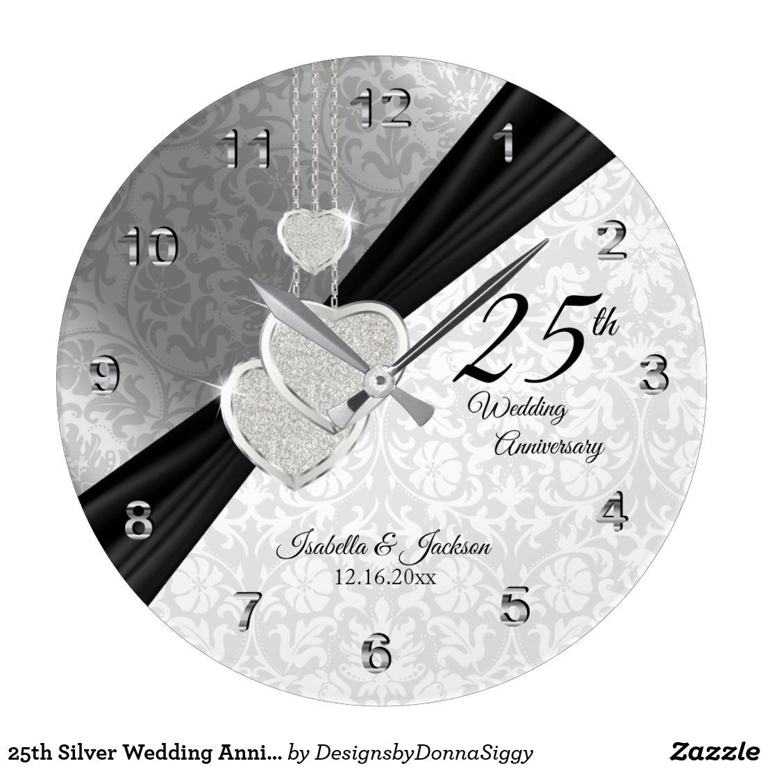 Diamonds Silver 25th Wedding Anniversary Large Clock 1003 In 2020 Silver Wedding Gifts 25th Wedding Anniversary 10th Wedding Anniversary