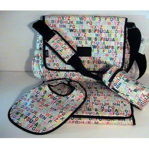 Bright and cheery Alphabet Diaper bag set.