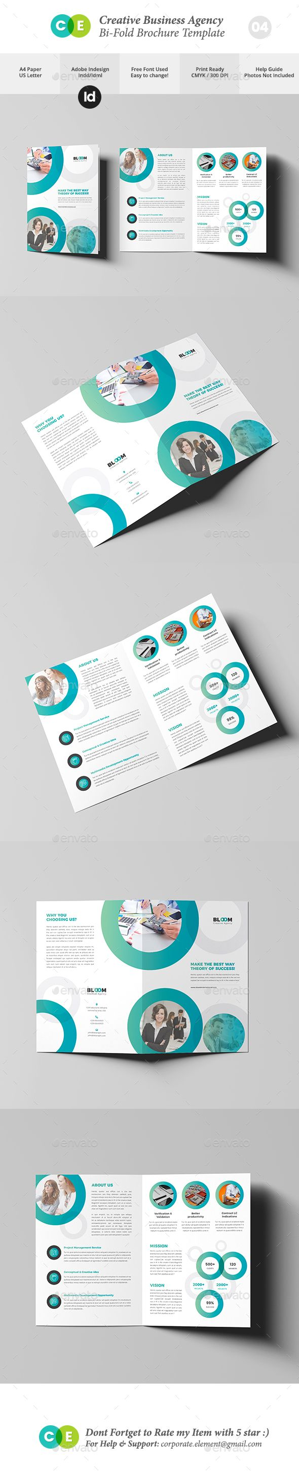 Business Creative Agency Bi-Fold Brochure V04 | Diseño editorial y ...