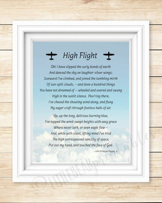 graphic about High Flight Poem Printable identify Aviation quotation, printable wall artwork, Substantial Flight printable