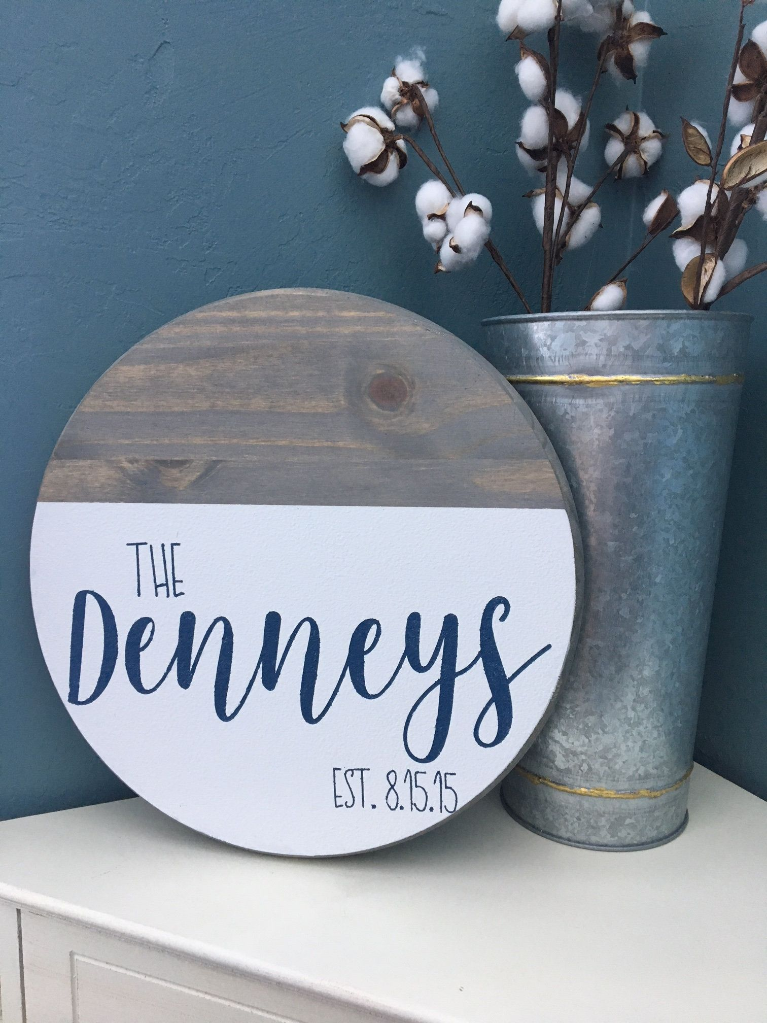 Personalized Wooden Sign Round Wood Sign Last Name Sign
