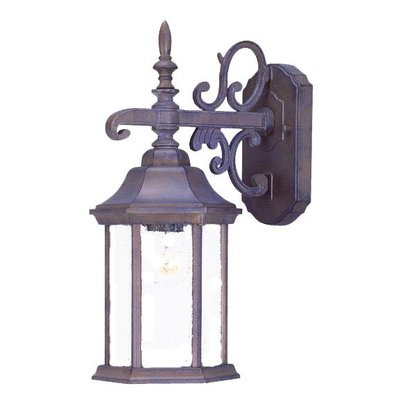 Acclaim Lighting Madison 1-Light Outdoor Wall Lantern Finish: Burled Walnut, Shade Type: Clear Seeded