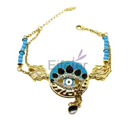 Delicate Gold Bracelets With white Swarovski crystals & blue bowlder in eyes shape
