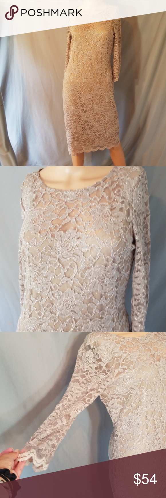 a894a0a755f 🌺NWT ONYX NITE GLITTER SHEERISH LACE DRESS Exquisite dress for so many  occasions. Body is lined but shows thru above chest. Sheer arms…