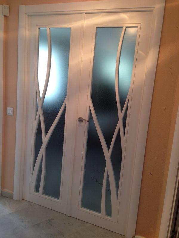 Original puerta 984 v lacada en blanco con cristal mate - Puertas interior cristal ...