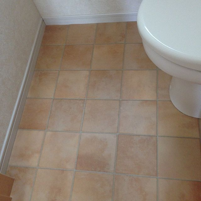 Bathroom クッションフロア 壁紙屋本舗 テラコッタ風 壁紙本舗 トイレ