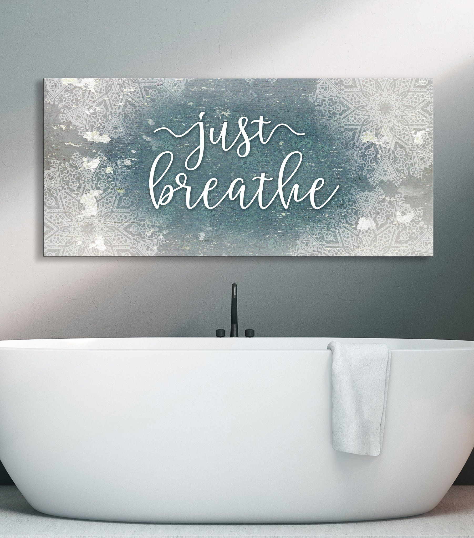 Bathroom Wall Art Just Breathe V5 Wood Frame Ready To Hang In 2020 Bathroom Wall Art Wood Frame Bedroom Wall Art