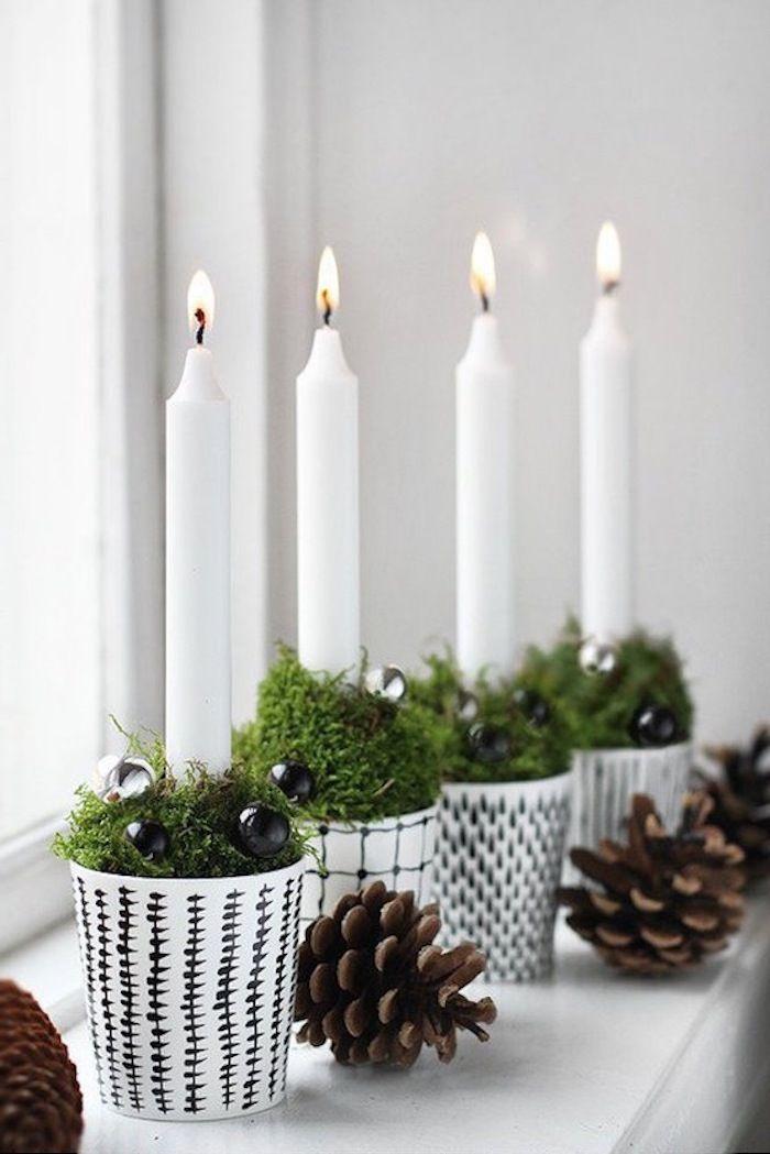 weihnachtsdeko fenster weiße topf gestaltungen zapfen kerze grüne ...