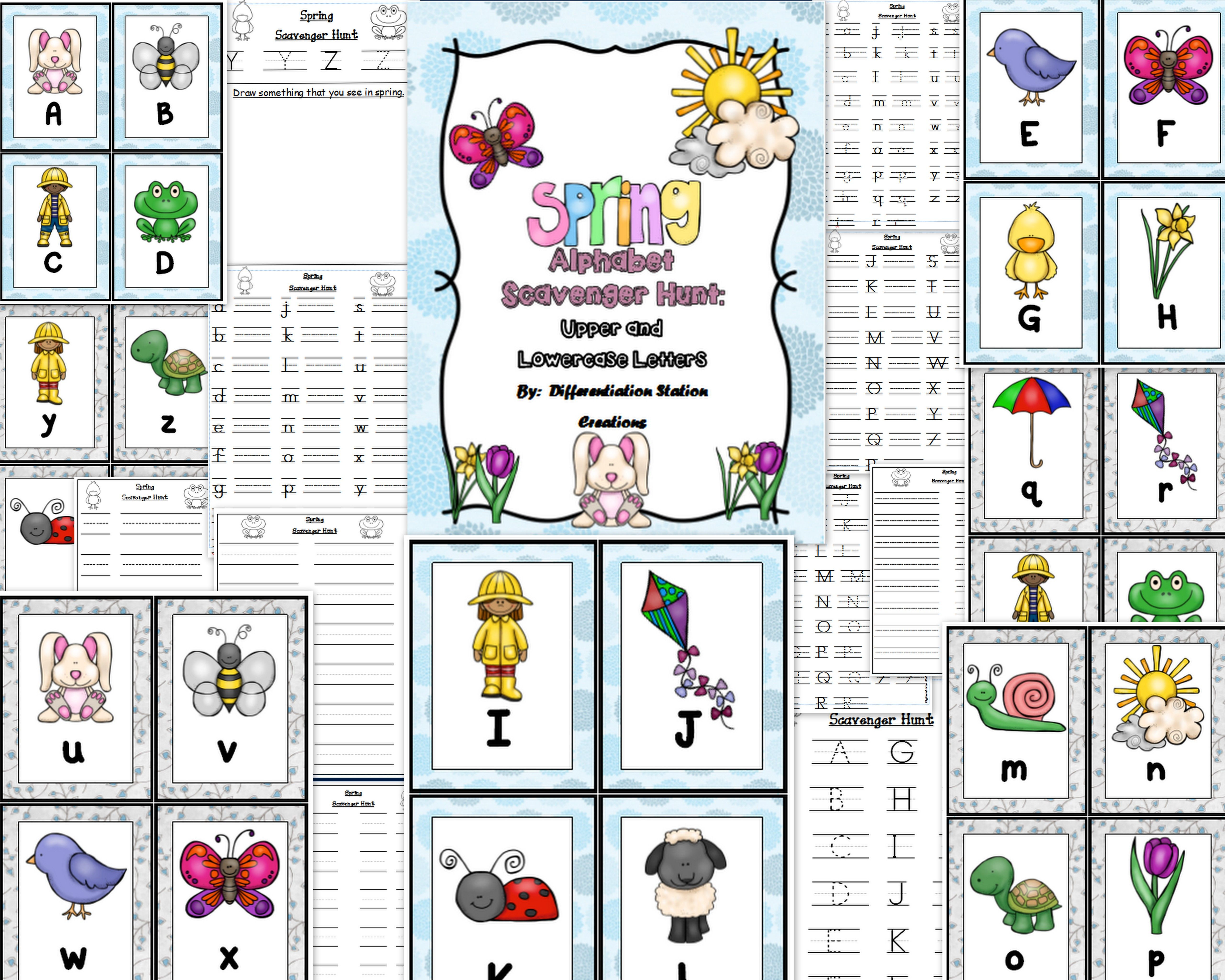 Spring Alphabet Scavenger Hunt Upper And Lowercase Letters