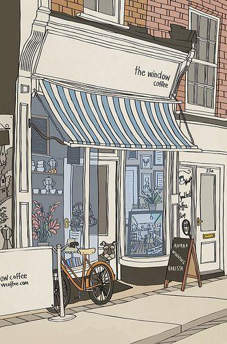 Coffee Shop Anime Scenery Wallpaper Aesthetic Art Shop Illustration