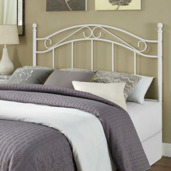 Wrought Iron Headboard Full Queen Size Vintage White Metal Scroll Post  Finials 733281598606 | EBay