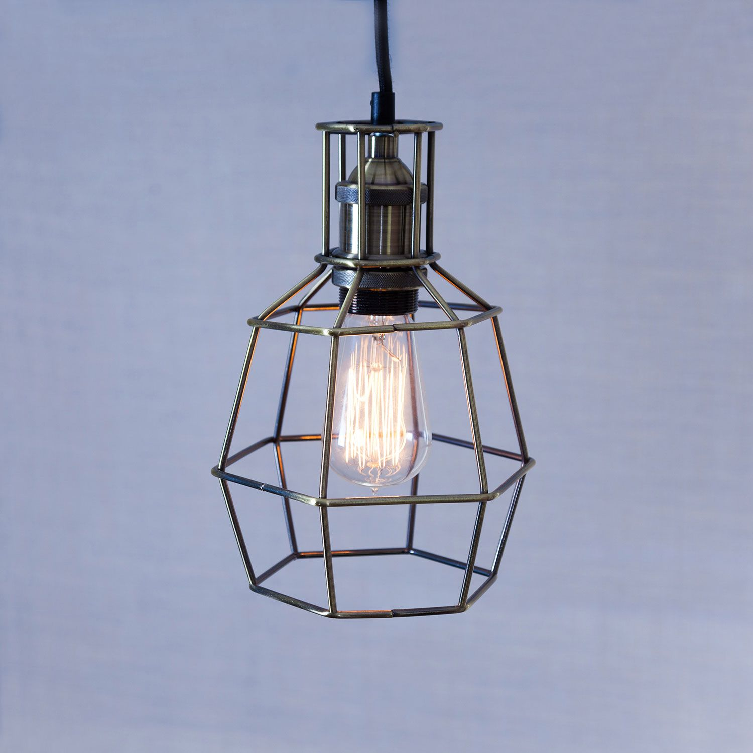 vintage lighting pendants. Clinton Antiqued Brass Caged Pendant Light With Vintage Bulb, Industrial And In Feel, Lighting Pendants