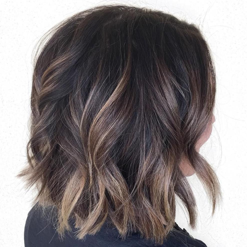 Wavy+Brown+Balayage+Bob
