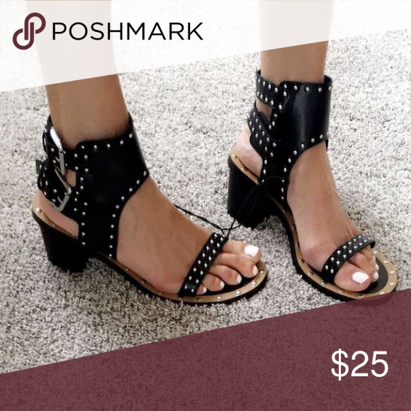 6261be2f624 Black studded block heel sandals Isabel Marant dupes from Forever 21! Worn  only a couple times. Forever 21 Shoes Sandals