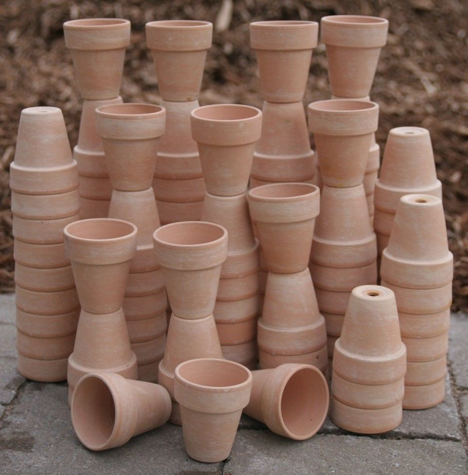 Bulk Lot Of 100 Clay Flower Pots Doll House Craft Garden Hobby Flower Art Clay Flower Pots Flower Pots Doll House Crafts