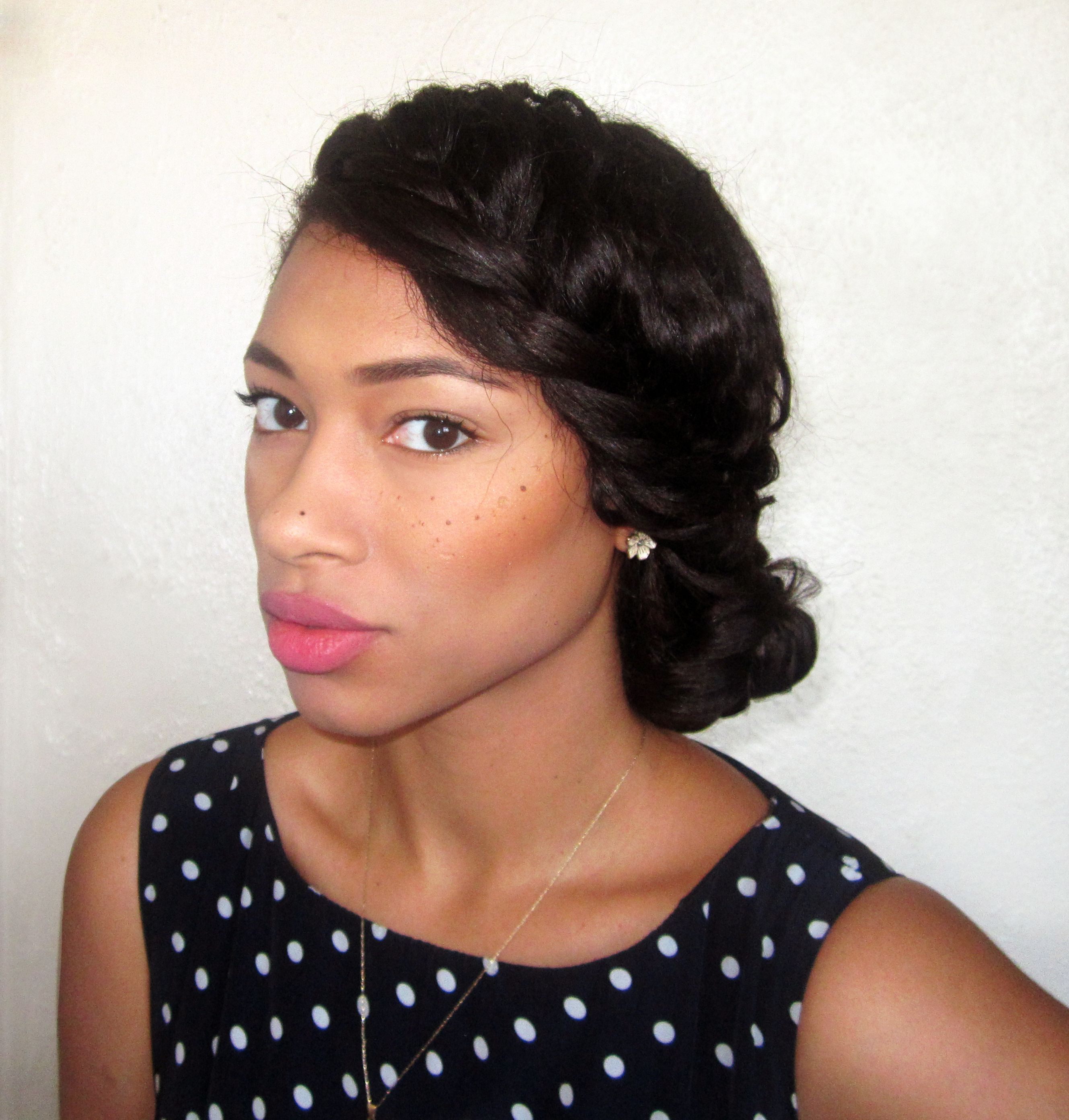 side braid bun on relaxed hair- one of my go to hair styles to
