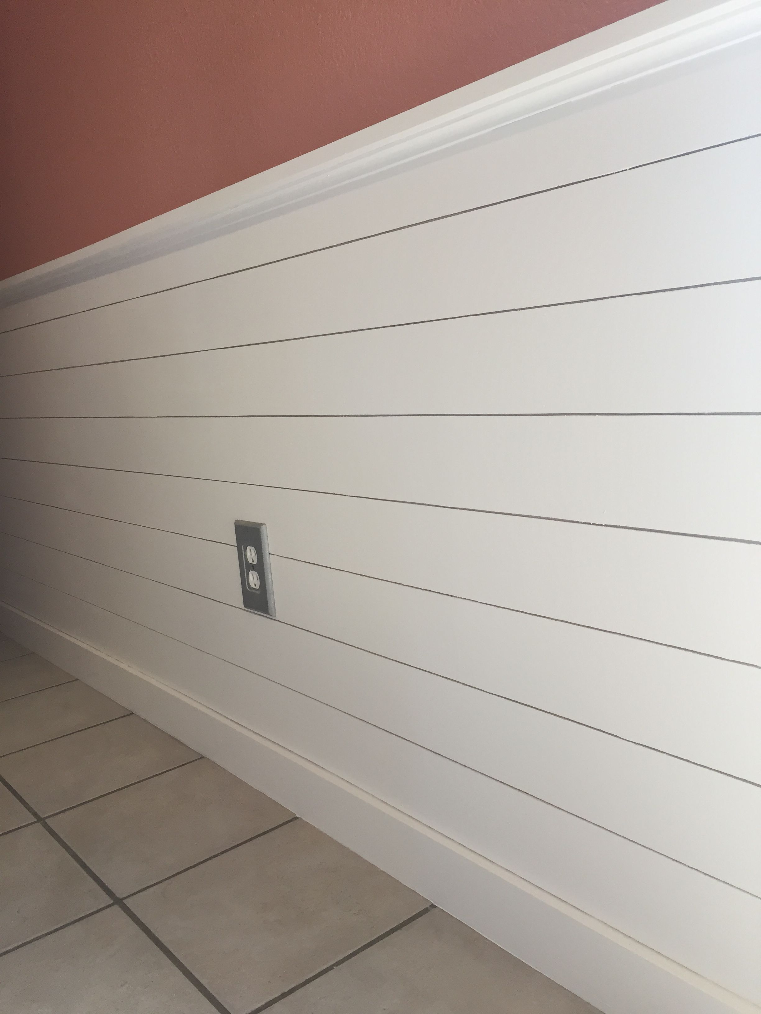 My shiplap chair rail in my kitchen. Paint color is ...