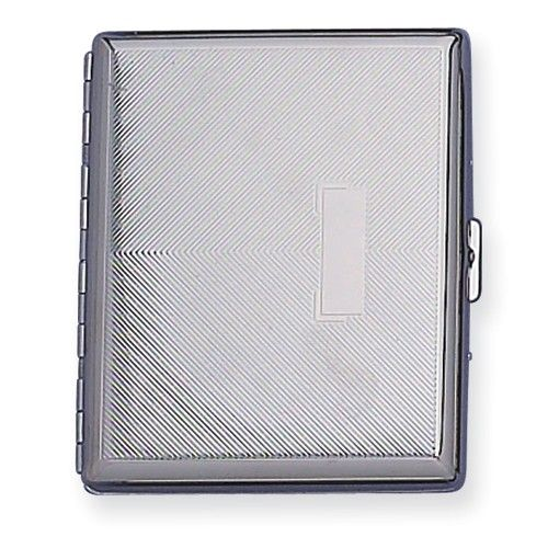 Nickel-plated Diagonal Lines w/eng box Cigarette Case  $20